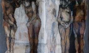 Bassem Dahdouh  103 x 73 cm x towptych  mixed media on canvas 2015